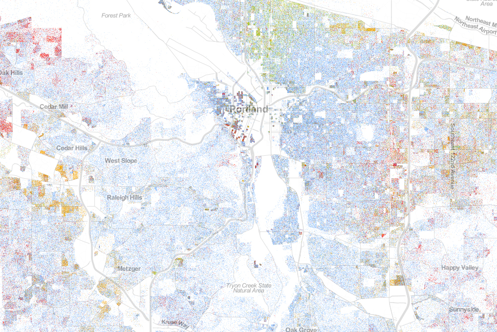 Portland's Racial Distribution: White: blue dots; African American: green dots; Asian: red; Latino: orange; all others: brown