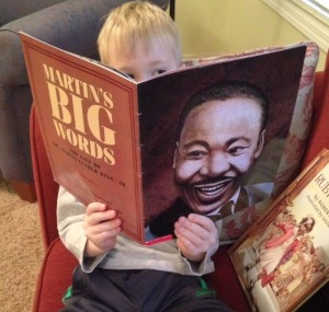 "My son reading ""Martin's Big Words"""